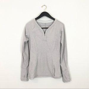 Lululemon 6 Pullover 1/4 Zip Top Long Sleeves Gray